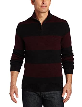 Nautica Men's 1/4 Zip Rugby Stripe Sweater, Cabernet, Small