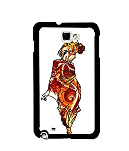 Fuson Premium Gorgeous Woman Metal Printed with Hard Plastic Back Case Cover for Samsung Galaxy Note 1 N7000 i9220