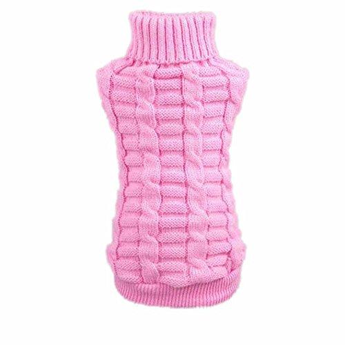 DZT1968(TM)Winter Dog Pet Clothes Woolen Sweater Knitwear Puppy Clothing Hemp Flowers High Collar Coat (Pink, (Doggy Clothing)