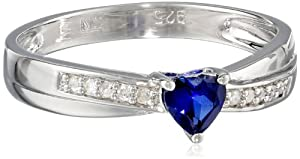 Sterling Silver Created Blue Sapphire and Diamond Heart Promise Ring (0.05 Cttw, G-H Color, I2-I3 Clarity), Size 6