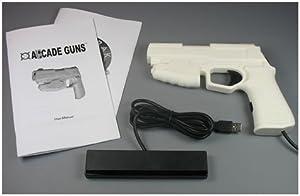 Starter Arcade Guns PC Light Gun Kit (White) - [Black Buttons/Trigger] by Harbo Entertainment LLC