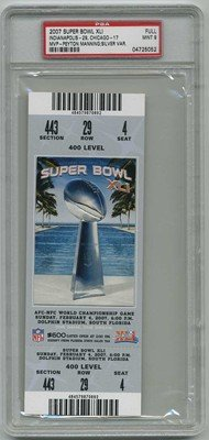 02/04/2007 Super Bowl Xli Full Game Ticket Colts (Indianapolis) Graded: Psa 9 - 400 Level (Silver $600) - Versus Bears