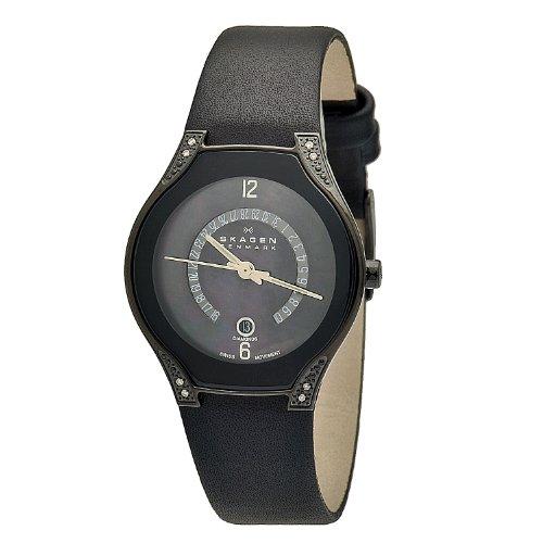 Skagen - 886SBLB - Montre Femme - Quartz Analogique - Bracelet Cuir Noir