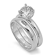 buy Sterling Silver Clear Round Solitaire Engagement Ring Wedding Band Size 8 (Rng10115-8)