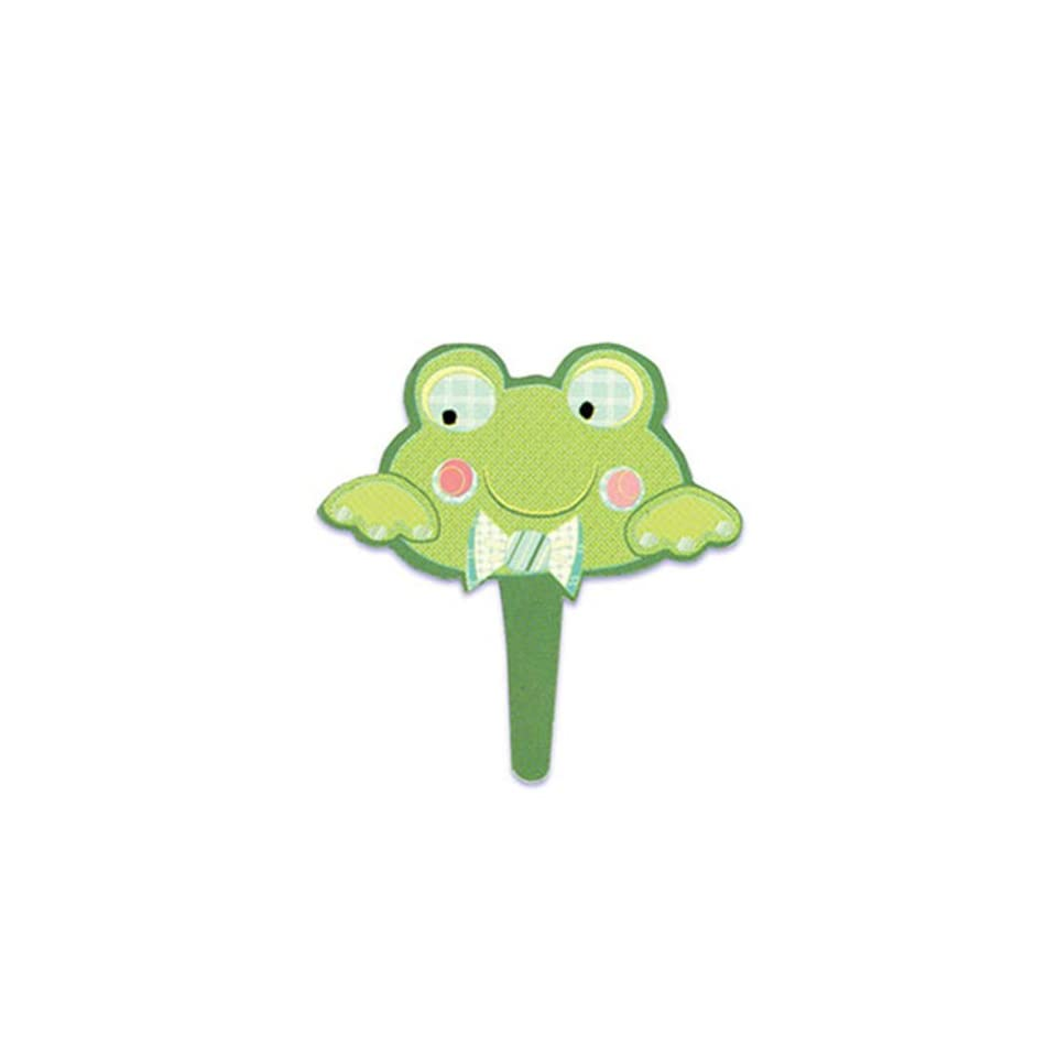 Dress My Cupcake DMC41CM 830 12 Pack Frog Face Pick Decorative Cake Topper, Baby Shower, Green