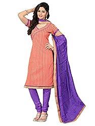 VARANGA Orange Embroidered Dress material with Matching dupatta SSR1008