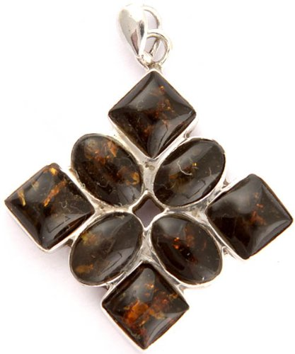 Amber Pendant - Sterling Silver