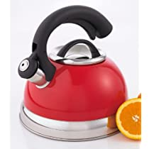 Creative Home 77037 Symphony  Pomegranate Red Over Stainless Steel Body Whistling Tea Kettle with Capsulated Bottom 2.6-Quart