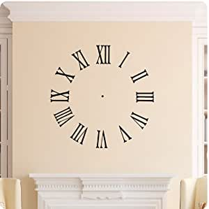 Buy Clock Face Wall Decal Roman Numerals Time Wall Decal