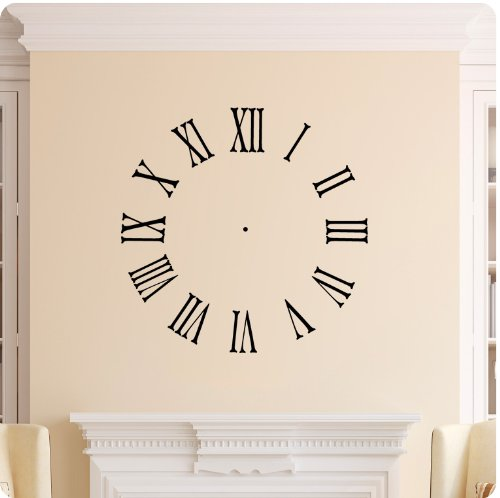 Clock Face Wall Decal Roman Numerals Time Wall Decal Sticker Art Mural Home Décor Quote