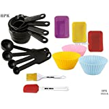 HPK BRANDED 16 Pcs SET OF MEASURING CUPS - CAKE/MUFFIN MOLDS AND BRUSH AND SPATULA