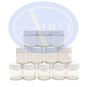 PACK of 12 - 30ml CLEAR GLASS Jars with WHITE Lids for Aromatherapy Blends / Creams