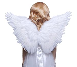 FashionWings (TM) Children's White Butterfly Style Costume Feather Angel Wings Halo