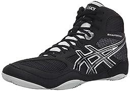 Asics Men\'s Snapdown Wide Wrestling Shoe, Black/Silver, 9.5 W US