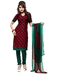 SareeShop Women's Georgette Semi-Stitched Dress Material (B2B3010_Red_Free Size)