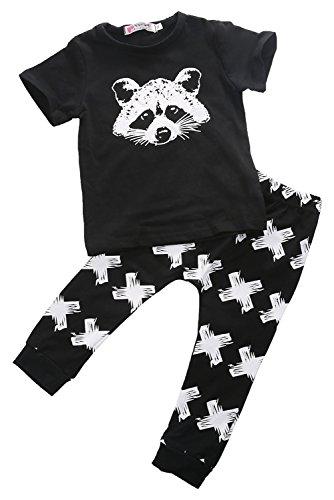 Newborn Organic Fox Baby Girls Boys Tops T-shirt+pants Leggings 2pcs Outfits Set (0-6 Months, Black&white)