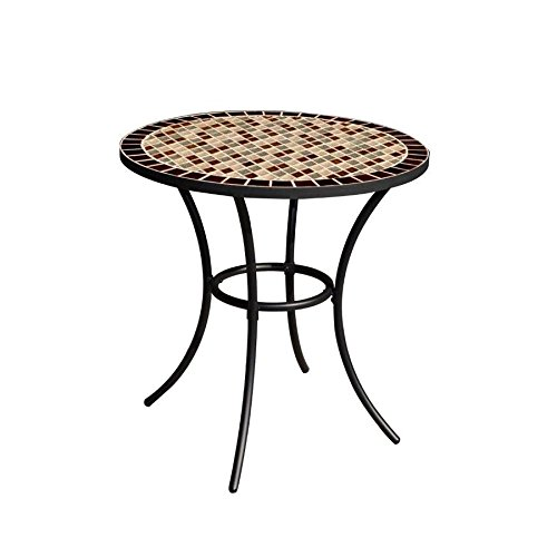 Garden Treasures Round Steel Bistro Table, Diamond Mosaic Tiles Tabletop, Black Powder-Coated Finish, 28-in W x 29-in H