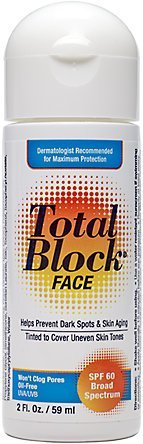 Fallene Total Block Face UVA/UVB Complete Broad Spectrum Sun Protection, SPF 60 Tinted, 2 fl Ounces (59 ml)