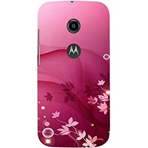Casotec Pink Abstract Design 3D Printed Hard Back Case Cover for Motorola Moto E 2nd Generation