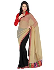 Deepika Saree Faux Georgette Beige And Black Saree With Blouse