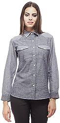 Peptrends Women's Regular Fit Shirt (SHI 15188GY_M, Grey, M)
