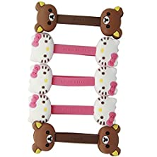 buy New Cute Monsters University Disney Cartoon Hello Kitty Cable Tie Cord Organizer Headset Headphone Earphone Wrap Winder/ Fixer Holder/Cord Manager/Cable Winder (3Pcs Cable Winder Hello Kitty & 1Pcs Brown Bear & 1Pcs Beige Bear)