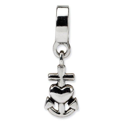Sterling Silver Heart, Cross, Anchor Dangle Bead