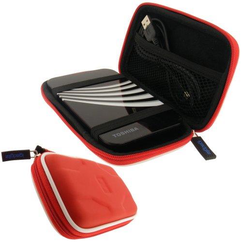 """igadgitz Hartschalentasche Hardcase: Tasche Schutzhülle Hülle Etui Case aus EVA (Ethylenvinylacetat) in Rot für externe tragbare Festplatte Toshiba STOR.E ALU, ART & STEELE Series 2,5"""" 2,5 Zoll (6,4 cms) 160gB, 250gB, 320gB, 400gB, 500gB & 640gB"""