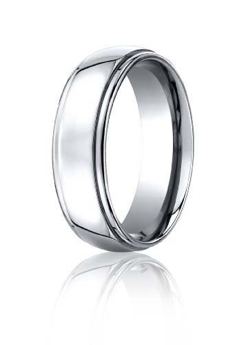 Cobalt Chrome, 7mm Comfort-Fit High Polished Design Ring (sz 8.5)