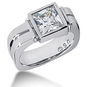 Men s Platinum Diamond Ring 1 Princess Diamond 2.51 ctw 124PLAT-MDR1296 - Size 9.75