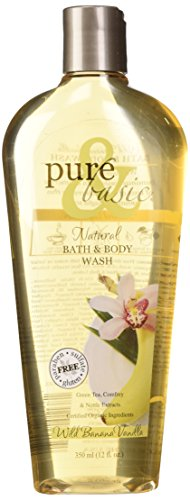 Pure and Basic Natural Bath and Body Wash, Wild Banana Vanilla, 12 Fluid Ounce Basic Natural Bath