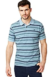 North Coast Pure Cotton Textured Striped Polo Shirt