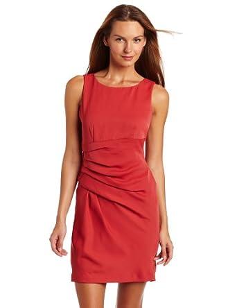AK Anne Klein Women's Crushed Satin Sleeveless Dress, Dark Coral Clay, 10