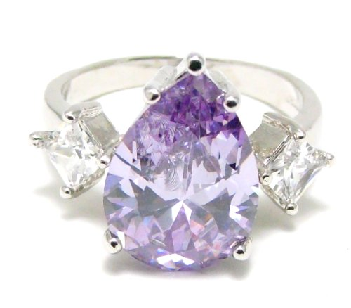 Pear Shape Tanzanite & Diamond Ring, Size 8