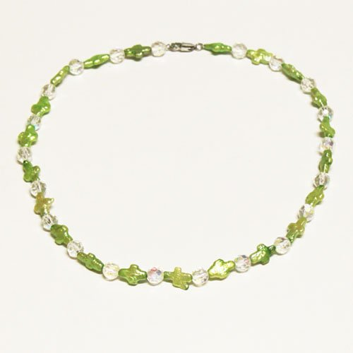 Green Cross Freshwater Cultured Pearl & Cystal Necklace, 18