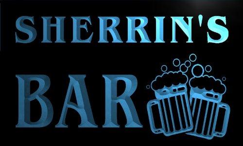 w044254-b-sherrins-name-home-bar-pub-beer-mugs-cheers-neon-light-sign