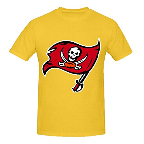 NFL Tampa Bay Buccaneers Team Logo Crew Neck Graphic T Shirts For Men Yellow (Patrick Pez Dispenser compare prices)