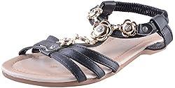 Deccan Shoes Girls Black Leather Sandals (35 EU)