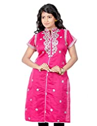 B3Fashion Designer Partywear Trendy Pink Chanderi Silk Kurti With Gota Laced Collar And Yoke With Gota Laced Sleeves...