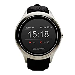 Invtepy® 2016 New NO.1 D5 Bluetooth Smartwatch 360*360 IP65 Android 4.4 Google Play Smart Watch Phone Wifi Heart Rate For Samsung HTC LG Andriod(Full Function)iphone(patial function)(Silver)