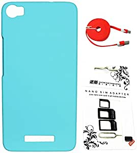 FCS Rubberised Hard Back Case For Lava Iris X8 With Sim Adaptor And Wide Strip 2 Meter Data Cable