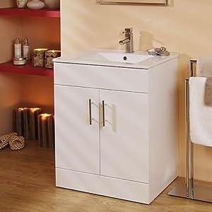 White Floor Standing Square 600mm Bathroom Vanity Unit