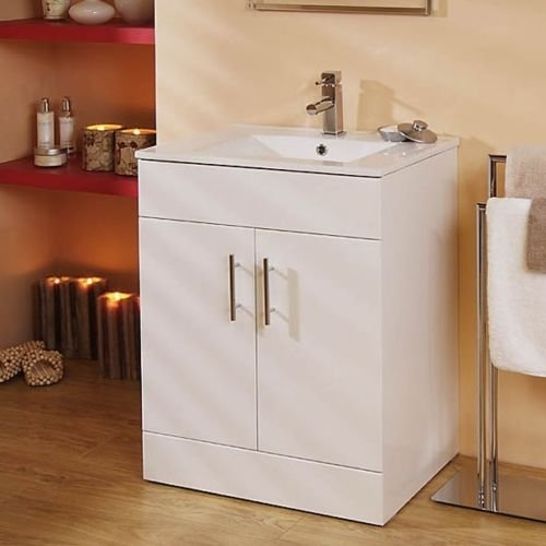 White Floor Standing Square 600mm Bathroom Vanity Unit Cabinet & Ceramic Basin Sink 600