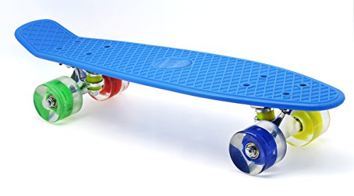 Merkapa Shinning Skateboard Glow Deck Cruiser Board With LED Light Wheels (Blue)