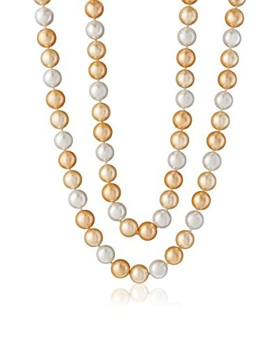 CZ by Kenneth Jay Lane KN411 GOLD 36 Cz with Mop Pearls Necklace