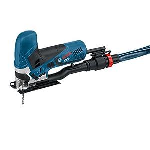 Bosch Professional GST 90 E, 650 W Nennaufnahmeleistung, 90 mm Schnitttiefe in Holz, Sägeblatt, Absaug-Set, Koffer, 1 Spanreißschutz