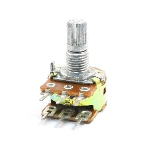 Type B 1K ohm 6 Terminals Dual Linear Variable Rotary Potentiometer