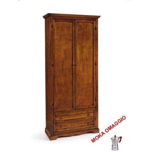 CLASSICO armadio noce 2 ante 2 cassetti legno massello camera soggiorno 517 87x40x192
