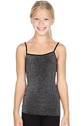 Sugarlips Girl\'s Seamless Sparkle Lurex Tank Top, Black Lurex