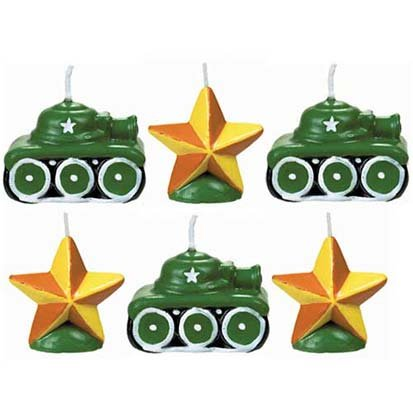 Camouflage Mini Cake Candles 6ct